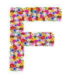 F,  letter of the alphabet in different flowers Stock Images