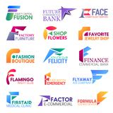 F letter corporate identity, business icons. Corporate identity letter F business icons. Vector finance and beauty, furniture and floristry, jewelry and fashion stock illustration