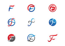 F Letter Logo template. Fire flames icon vector illustration  business logo Royalty Free Stock Photos