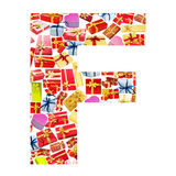 F Letter  made of giftboxes Royalty Free Stock Photo
