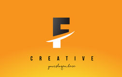 F Letter Modern Logo Design with Yellow Background and Swoosh. Royalty Free Stock Images