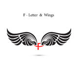 F-letter sign and angel wings.Monogram wing logo mockup.Classic Stock Photos