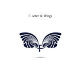 F-letter sign and angel wings.Monogram wing vector logo template Stock Photography