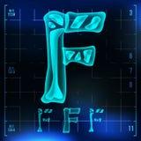 F Letter Vector. Capital Digit. Roentgen X-ray Font Light Sign. Medical Radiology Neon Scan Effect. Alphabet. 3D Blue. Light Digit With Bone. Medical Stock Images