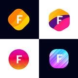 F letter vector company icon signs flat symbols logo set Royalty Free Stock Image