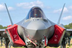 F-35 Lightning fighter jet. Aircraft royalty free stock photos