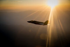 An F-35 Lightning II fighter and other US Air Force jets over NEvada, US. Royalty Free Stock Photo