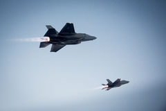 An F-35 Lightning II fighter and other US Air Force jets over NEvada, US. Royalty Free Stock Photography