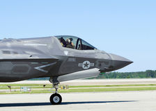 F-35 Lightning II military aircraft. On the airfield Royalty Free Stock Image