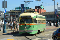 F-line Antique streetcar, San Francisco, USA. F-line Antique PCC streetcar No.1058 Chicago at Fisherman's Wharf of San Francisco, California, USA Stock Images