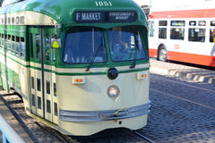 F-line Antique streetcar, San Francisco, USA. F-line Antique PCC streetcar No.1051 Chicago at Fisherman's Wharf of San Francisco, California, USA Royalty Free Stock Photography