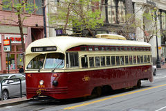 F-line Antique streetcar, San Francisco, USA. F-line Antique PCC streetcar No.1074 Toronto in the Financial District of San Francisco, California, USA Royalty Free Stock Photos