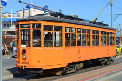F-line Antique streetcar, San Francisco, USA. F-line Antique Peter Witt streetcar No.1895 Milan (Italy) at Fisherman's Wharf of San Francisco, California, USA Royalty Free Stock Photos