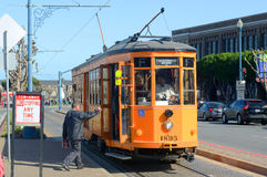 F-line Antique streetcar, San Francisco, USA. F-line Antique Peter Witt streetcar No.1895 Milan (Italy) at Fisherman's Wharf of San Francisco, California, USA Stock Image