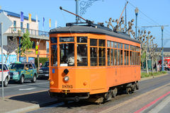 F-line Antique streetcar, San Francisco, USA. F-line Antique Peter Witt streetcar No.1895 Milan (Italy) at Fisherman's Wharf of San Francisco, California, USA Stock Photo