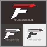 F logo. Attractive F logo with pencil shape Stock Photo