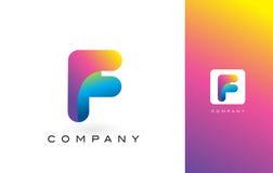 F Logo Letter With Rainbow Vibrant Mooie Kleuren Kleurrijk RT Stock Fotografie