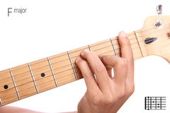 F major guitar chord tutorial Stock Image