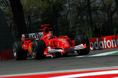 23 April 2005, San Marino Grand Prix of Formula One. Michael Schumacher drive Ferrari F1 during Qualyfing session on Imola Circuit. 22 April 2005, San Marino Stock Photography