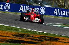 22 April 2005, San Marino Grand Prix of Formula One. Michael Schumacher drive Ferrari F1 during Qualyfing session on Imola Circuit. In Italy Stock Image