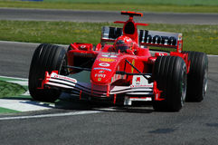 22 April 2005, San Marino Grand Prix of Formula One. Michael Schumacher drive Ferrari F1 during Qualyfing session on Imola Circuit. In Italy Stock Photo