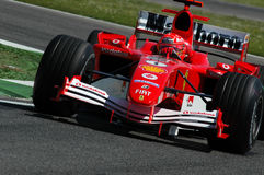 22 April 2005, San Marino Grand Prix of Formula One. Michael Schumacher drive Ferrari F1 during Qualyfing session on Imola Circuit. In Italy Stock Photos