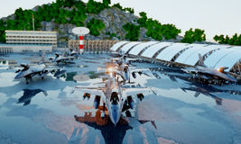 F 16 military fighter jet. military base. sunset. 3d rendering. Royalty Free Stock Photos