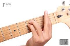 F minor guitar chord tutorial Stock Photo