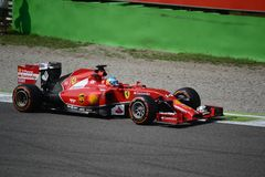 2014 F1 Monza Ferrari F14 T - Fernando Alonso Royaltyfria Bilder