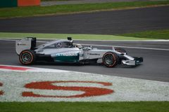 2014 F1 Monza Mercedes W05 - Lewis Hamilton Lizenzfreies Stockbild