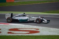 2014 F1 Monza Mercedes W05 - Lewis Hamilton Royaltyfri Bild