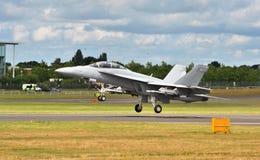 F-18 myśliwiec przy Farnborough Airshow 2016 Zdjęcie Royalty Free