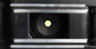 F8. A narrow, aperture setting seen from the inside of an old film camera. Shows the width of the aperature at this setting Royalty Free Stock Photography