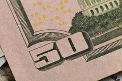 F?nfzig Dollar Elemente, Supermakro, schlie?en herauf Foto lizenzfreies stockfoto