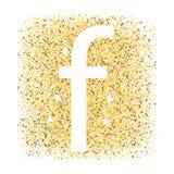 F no ícone da letra do ouro isolado no fundo branco ilustração stock