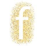 F no ícone da letra do ouro isolado no fundo branco ilustração royalty free
