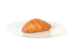 F One Fresh and Tasty Croissant with Chocolate on Plate Royalty Free Stock Image