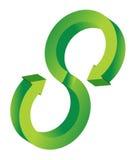 för cirkuleringsdesign för pil 3d illustration för green Arkivbilder