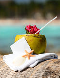 för coctailkokosnötter för strand karibiskt paradis Arkivbild