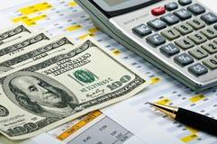 för datalistpengar för räknemaskin finansiell penna Royaltyfri Fotografi