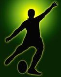 för kickerrugby för glöd grön sport för silhouette Royaltyfria Foton