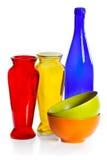 för koppexponeringsglas för flaska keramiska färgade vases Arkivbild