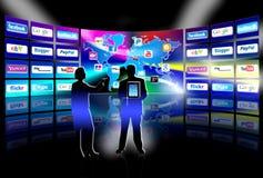 för nätverkspresentation för apps mobil vägg för video Arkivfoto