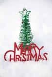 för prydnadsnow för jul glad tree Arkivbilder