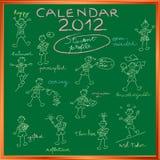 för räkningsprofil för 2012 kalender deltagare Arkivbilder
