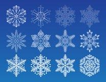 för snowflakevektor för illustration set vinter Fotografering för Bildbyråer