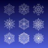 för snowflakevektor för illustration set vinter Royaltyfri Foto