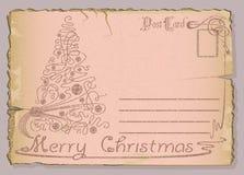 för vykorttappning för jul nya år Royaltyfri Bild