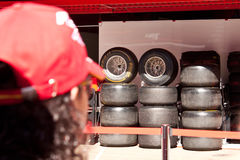 F1 Paddock Барселона, покрышки Стоковое Изображение RF