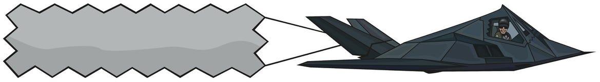 F-117A podstęp z sztandarem. Zdjęcie Royalty Free